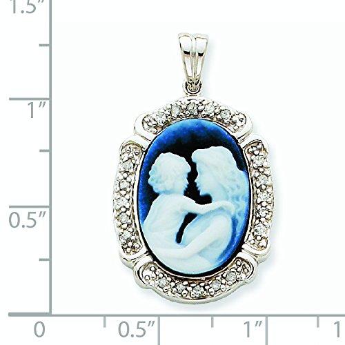 Or blanc 14 carats Cœur avec pendentif en Agate JewelryWeb