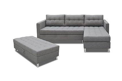 Selsey COPENHAGEN - Corner Sofa Lounge/Sofa Bed in Beautiful Savanna Grey  Fabric with Separate Ottoman (Chrome Legs)