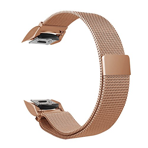 Gear S2 Watch Band [Large], Fintie [Magnet Lock] Milanese Loop Adjustable Stainless Steel Replacement Strap Bands for Samsung Gear S2 SM-R720 / SM-R730 Smart Watch - Rose Gold