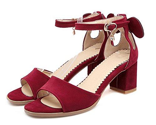 Ouvert Aisun Sandales Femme Rouge Style Bout Classique Nouveau 8Xwq8r