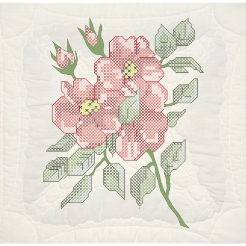 - Fairway 95105 Quilt Blocks, Wild Roses Design, White, 6 Blocks Per Set