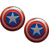 2 X Captain America Marvel Comics Superhero Shield Emblems Real Aluminum Car Laptop Logo Badge Emblems (Pair/Set)