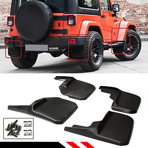 Jeep Wrangler Mud (For 2007-2018 Jeep Wrangler JK JKU Rubicon Offroad Mud Flaps Splash Guards Flares 4 Piece Front & Rear Set)