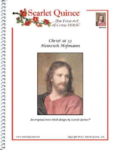 Scarlet Quince HOF003-D Christ at 33 by Heinrich Hofmann Counted Cross Stitch Chart, Regular Size Symbols