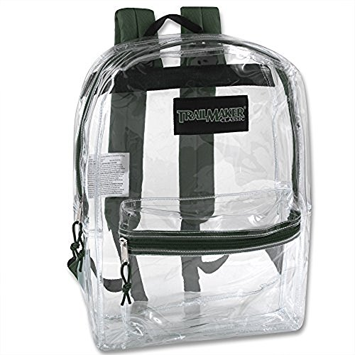 Clear Backpack With Reinforced Straps For School, Security, Sporting Events -