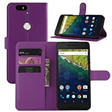 Nexus 6P Case, Premium Leather Wallet Case Cover with Stand Card Holder for Huawei Google Nexus 6P / 6 2nd Gen 2015 Phone (Wallet - Purple)