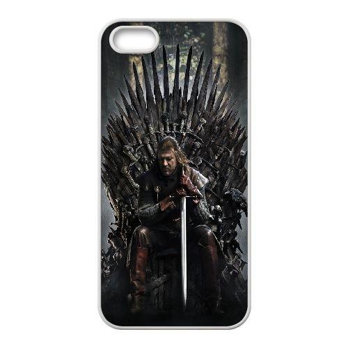 Ned Stark Game Of Thrones coque iPhone 4 4S Housse Blanc téléphone portable couverture de cas coque EOKXLKNBC21029