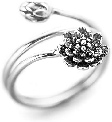 Amazon.com: Anillos de flor de loto de plata de ley 925 de ...