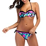 Fheaven Women Bikini Floral Printing Swimwear Bandage Push-Up Padded Two Piece Swimsuit (s, Blue)
