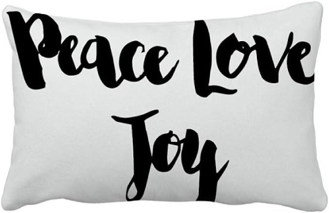 Diythinker Peace Love Joy Quote Handwrite Throw Pillow Lumbar Insert Cushion Cover Home Sofa Home Kitchen