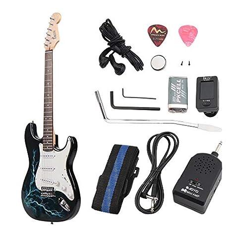 Newgreenca - Guitarra acústica de Madera Maciza con Amplificador: Amazon.es: Electrónica