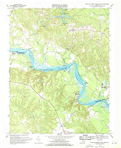 YellowMaps King and Queen Court House VA topo map, 1:24000 Scale, 7.5 X 7.5 Minute, Historical, 1968, Updated 1971, 26.9 x 22.1 in - Polypropylene