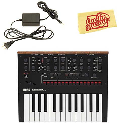 Korg Monologue Monophonic Analog Synthesizer - Black Bundle with Power Supply and Austin Bazaar Polishing ()