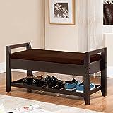 K&B Furniture Solid Wood Storage Bench – Espresso / For Sale