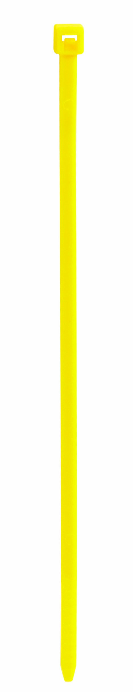 Aviditi CT145J Nylon Cable Tie, 14'' Length x 3/16'' Width, Fluorescent Yellow (Case of 1000)