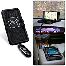 Fast Wireless Charger,2 in 1 Car Holder with QI Wireless Charging Tray, Silicone Pad Skid-proof Wireless Charger Launching Pad Mobile Phone Chargers Universal for iPhone 8/ X/ Plus Samsung S/ Note8
