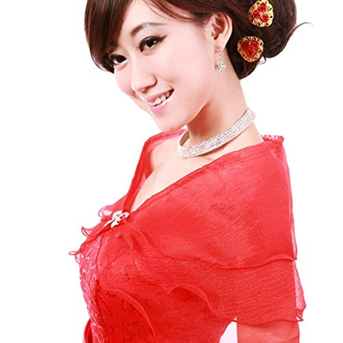 Binmer(TM)Long Shawl Wrap Women Bridal Wedding Dress Prom Party Evening Shawl (Red)