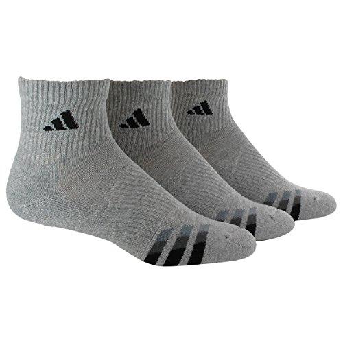 adidas Men's Cushioned Quarter Socks (3-Pack), HEATHERED LT ONIX/BLACK/GRANITE/TECH GREY, Large: fits shoe size 6-12