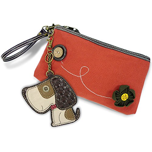 Chala Wristlet Clutches in Orange/Red Color & Canvas (Dog)