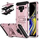 DONWELL Galaxy Note 9 Hybrid Shockproof Heavy Duty Rugged Full Body Protective Cover Built-in Rotating Kickstand and Swivel Belt Clip Holster Case for Galaxy Note 9 / SM-N960U (Rose Gold)