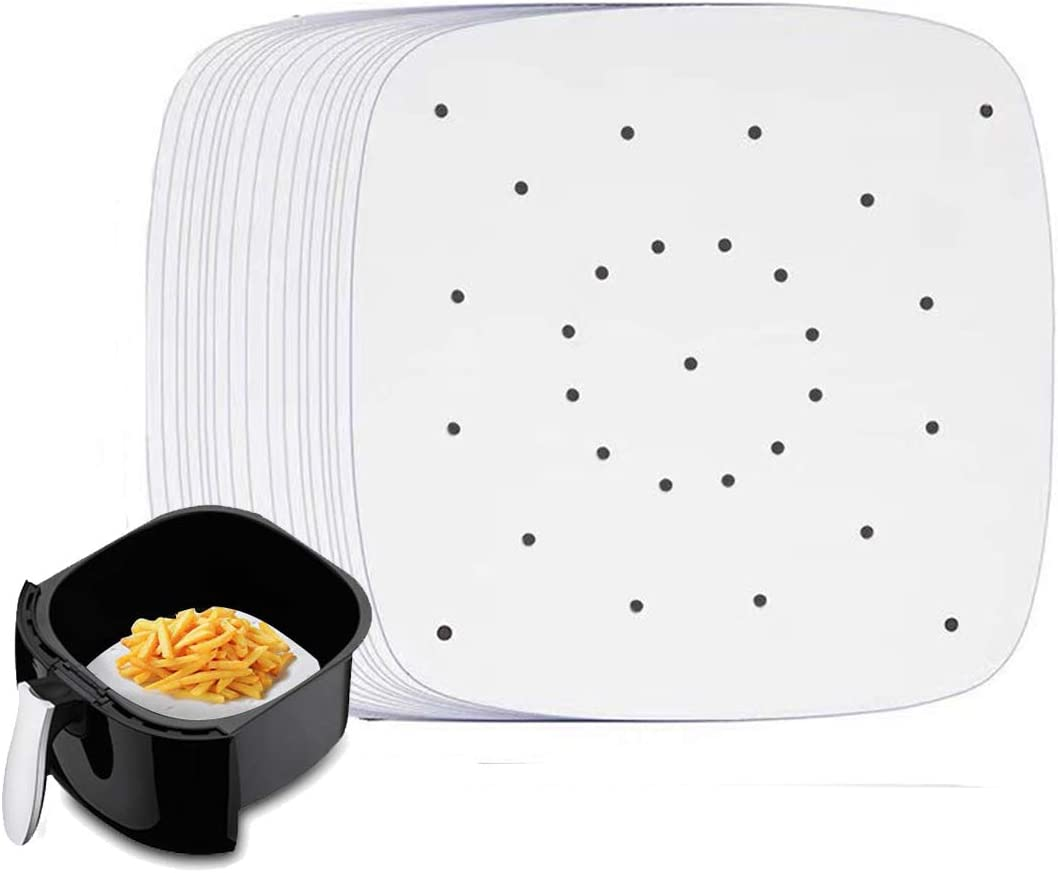 Steaming Parchment Liner for oven Steaming Basket 200 Pcs 8 Round Two-sided Non-Stick Air Fryer Liners for 2.9QT-3.6QT Air Fryer Steamer Mat Perforated Log Pulp Parchment Paper