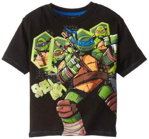 Teenage Mutant Ninja Turtles Little Boys' Turtles Shell Up Tee, Black, 5/6