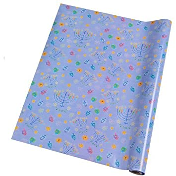 6 Roll Count Hanukkah Gift Wrap In Assorted Designs Wrapping