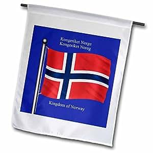 3dRose fl _ 63190_ 1la bandera de Noruega sobre un fondo azul con el Reino de Noruega en inglés y Noruega bandera de Jardín, 12por 45,72cm