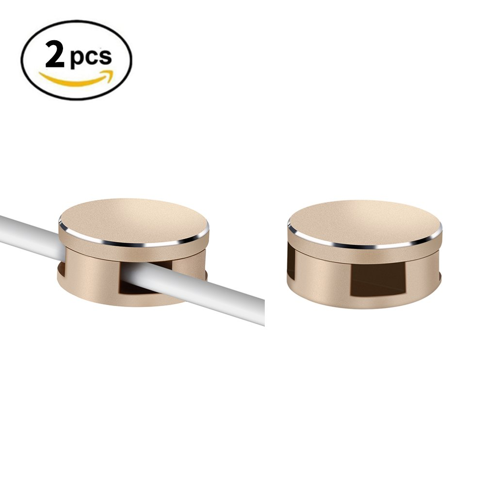 Cable clips, Cable management, Aluminum Alloy, Stick well, Magnetic cover, Hold the Cable Well, Self Adhesive for USB Cables, Mouse Cables, headphone cables 2pack(golden)