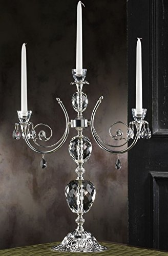- 5th Avenue Collection Italian 925 Silver 3 Arm Candle Holder Centerpiece H 42 Inches Made w/Swarovski Crystal