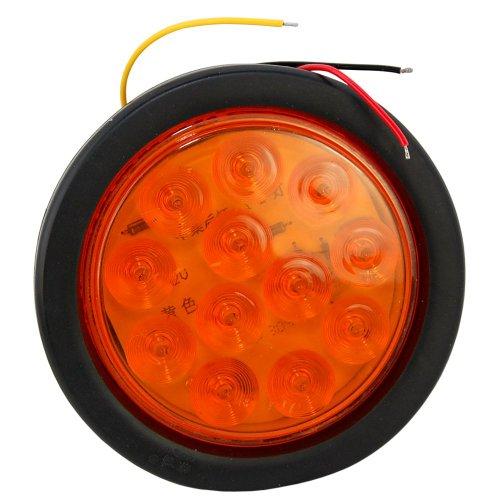 "HQRP 5.25"" Round 12 Amber LED Truck Trailer Marker Turn Brake Stop Tail Light plus HQRP UV Meter"