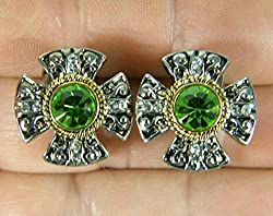 Green 2-Tone Crystals White Gold Overlay Earrings
