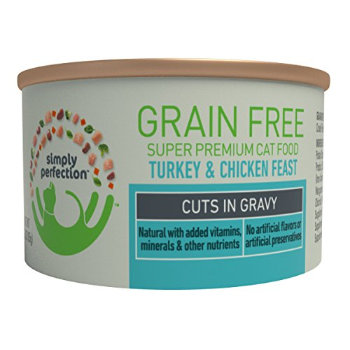 Simply Perfection Super Premium Grain Free Turkey And Chicken Feast-Cuts 72Oz Case, 24 Cans