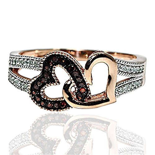 - Midwest Jewellery Rose Gold Interlocking Hearts Ring Cogac Brown and White Diamonds