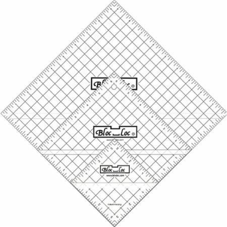 Bloc Loc~Half Square Triangle Ruler Set #7~3.5'',6.5'',9.5'', Acrylic Ruler by Bloc Loc