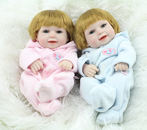 Kaydora 10inch Full Silicone Reborn Baby Blonde Hair Boy and Girl Twins Washable Handmade Lifelike Dolls Looking Body Wrinkles – With Pink and Blue Ba…
