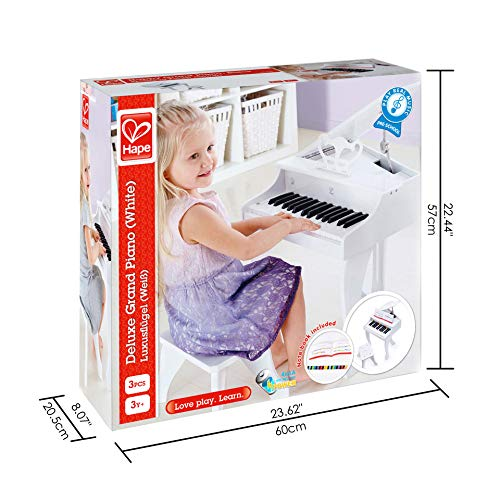Hape Deluxe White Grand Piano   Thirty Key Piano Toy with Stool, Electronic Keyboard Musical Toy Set for Kids 3 Years+