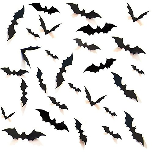 28Pcs DIY Halloween Decoration Party Supplies PVC 3D Decorative Scary Bats Wall Decal Wall Sticker Halloween Eve Home Decor in 4 Size, Reusable, Black - Scary Diy Halloween Decorations