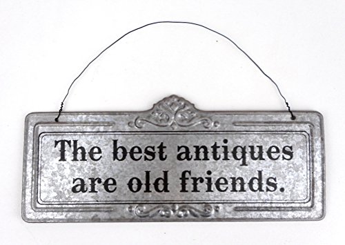 Peacock 'The Best Antiques Are Old Friends' Galvanized Metal Wire Hanging Decorative Wall Mounted Sign