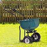 Seed Grass Spreader Fertilizer Broadcast Push Cart Lawn Garden Home Backyard