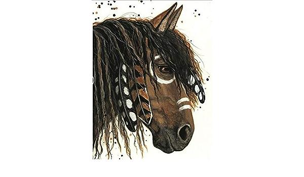 Geiqianjiumai Decoración del hogar Animal Caballo Pintura Cuadro Cuadrado Completo Pintura al óleo Regalo Pintura sin Marco: Amazon.es: Hogar