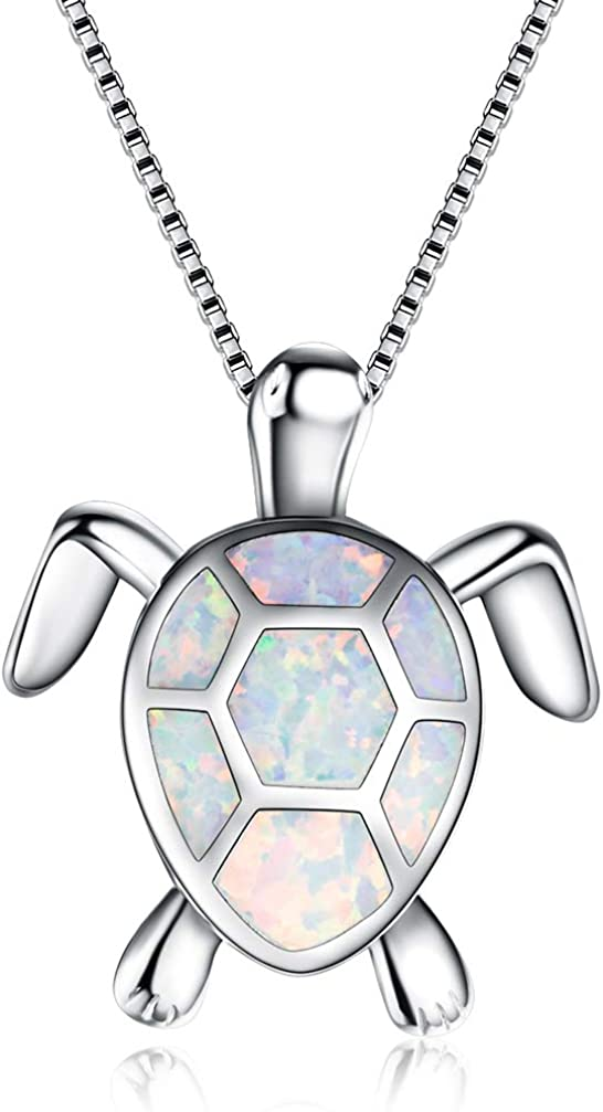 Hermosa Mom Gifts Sea Turtle Blue Opal Necklace Earrings for Women Animal Jewelry Sets for Girls Ladies