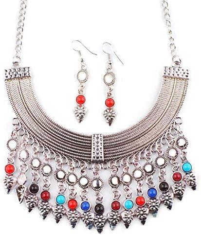 Haye necklace Collar Regalos De Cumpleaños Joyas Vintage Borla Collar Turquesa Pendientes Collar Conjunto Ornamento Mujer/Mujer/Novia/Hija