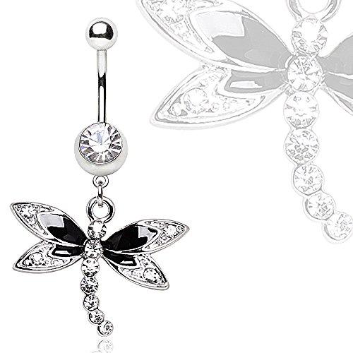 316L Steel Black Multi Glass/Gem Dragonfly Dangle Navel Ring - 14GA Black/Clear L:3/8