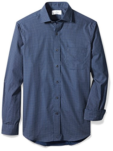 Shirt Collar Dot - BUTTONED DOWN Men's Classic Fit Supima Cotton Spread-Collar Dress Casual Shirt, Navy Dot, XL 32/33