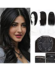 Clip in Hair Pieces Topper Cover Synthetic Hair Middle Part Natural Black Toppers Top Hairpieces for Women with Thinning Hair Gray Hair Hair Loss
