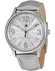 Tommy Hilfiger 1781592 Womens Metallic Silver Leather Strap Watch