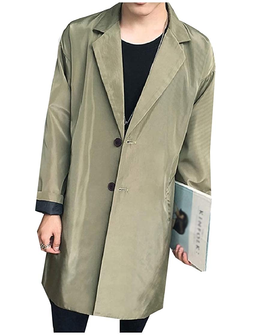 Comaba Mens Notched Collar Button Down Pockets Pure Color Trenchcoat