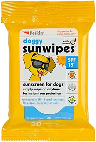 Petkin SPF 15 Doggy Sun Wipes, 20 count