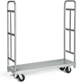 """product image for Raymond 3986 Steel Heavy Duty Narrow Panel Sheet Mover Platform Truck with 2 Uprights and 5"""" x 2"""" Phenolic Caster, 1500 lbs Capacity, 54"""" Length x 16-1/4 Width"""